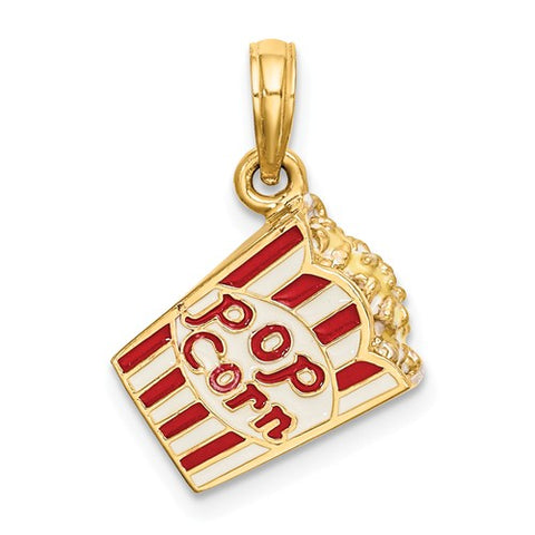 14K Yellow Gold Classic Popcorn Bag Necklace Charm - Cailin's
