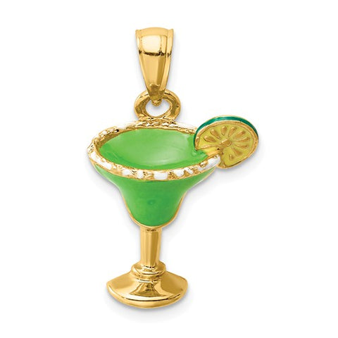 14K Yellow Gold Green Margarita Necklace Charm - Cailin's