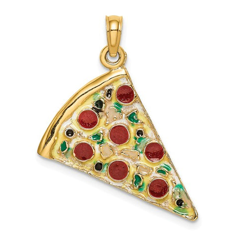 14K Yellow Gold Pepperoni Pizza Necklace Charm - Cailin's