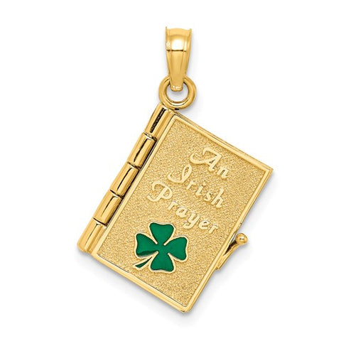 14K Yellow Gold An Irish Prayer Celtic Necklace Charm - Cailin's