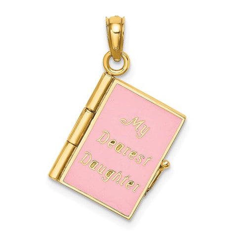 14K Yellow Gold Pink dear daughter Book Necklace Charm - Cailin's