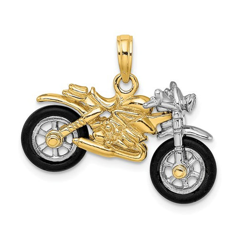 14K Two Tone Motorcycle Necklace Charm - Cailin's
