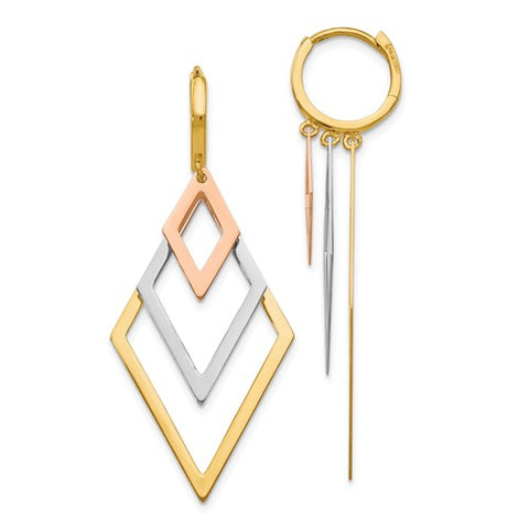 14K Gold Tri Color Trifecta Triangle Post Earrings - Cailin's