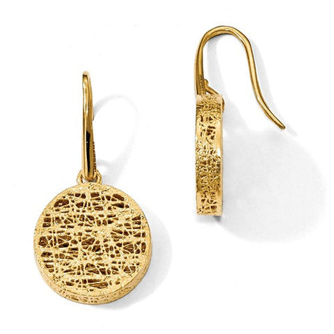 14K Yellow Gold Coin Texture Earrings - Cailin's