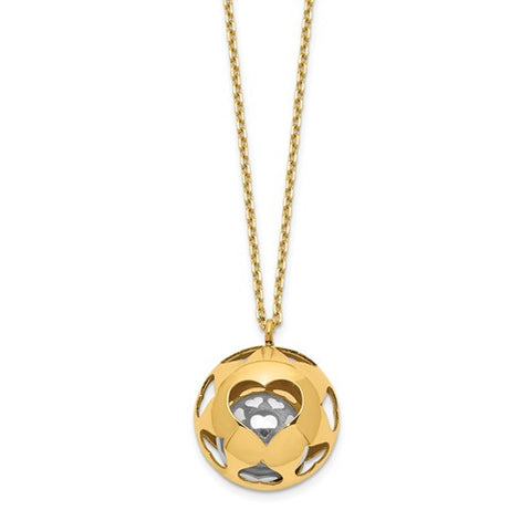 14K Gold Two Tone Bell Heart Necklace - Cailin's
