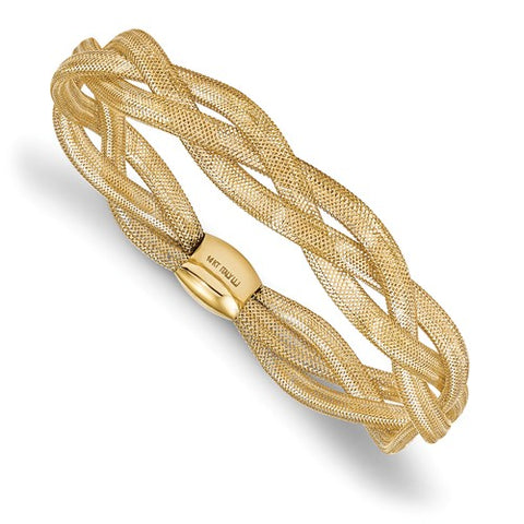 14K Yellow Gold Fancy Flex Mesh Bangle Bracelet - Cailin's