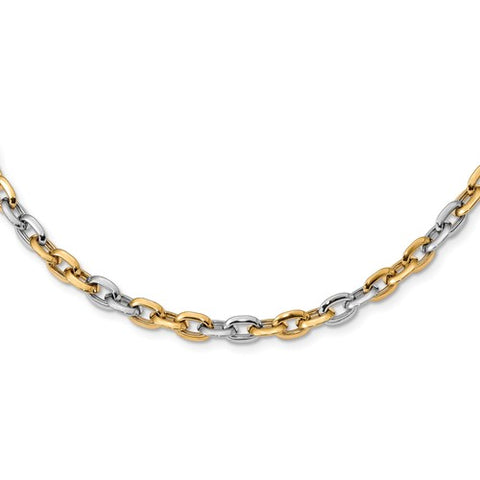 14K Yellow White Gold Two Tone Fancy Chain Link Necklace - Cailin's