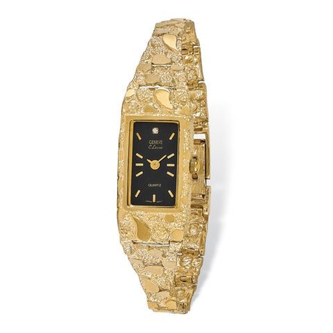 14K Yellow Gold Ladies Black Solid Nugget Luxury Watch - Cailin's