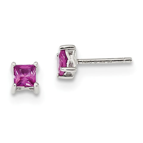925 Sterling Silver Pink Sapphire Princess Post Earrings - Cailin's