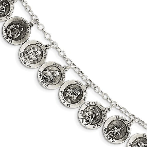925 Sterling Silver Twelve Patron Saints Bracelet - Cailin's