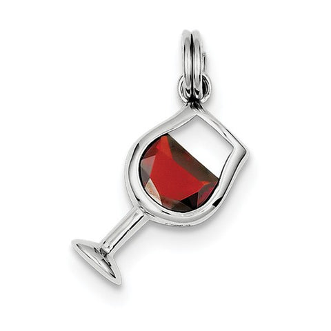 925 Sterling Silver Red Wine Glass Necklace Charm - Cailin's