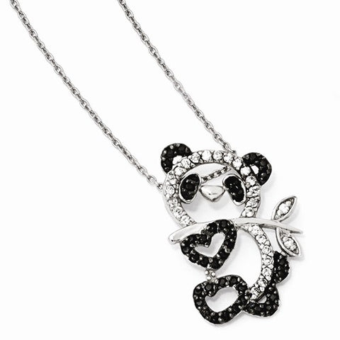 925 Sterling Silver CZ Panda Swing Necklace - Cailin's