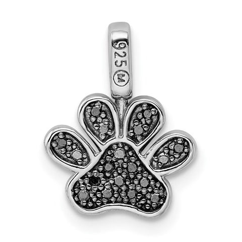 925 Sterling Silver Black diamond Paw Necklace Charm - Cailin's