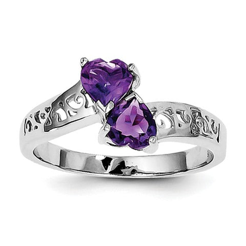 925 Sterling Silver Scroll Amethyst Hearts Ring - Cailin's