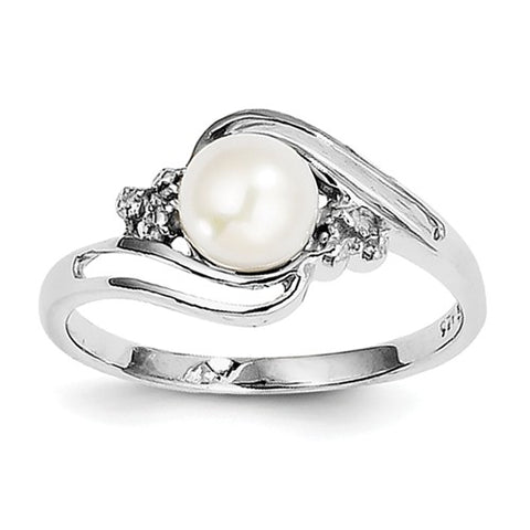 925 Sterling Silver Freshwater Pearl diamond Ring - Cailin's