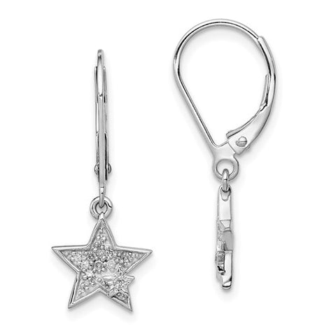 925 Sterling Silver Star diamond Leverback Earrings - Cailin's