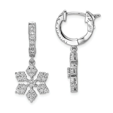 925 Sterling Silver CZ Snowflake Hoop Earrings - Cailin's