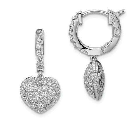 925 Sterling Silver Heart Hoop CZ Earrings - Cailin's