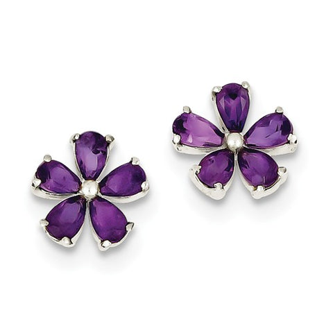 925 Sterling Silver Amethyst Flower Post Earrings - Cailin's