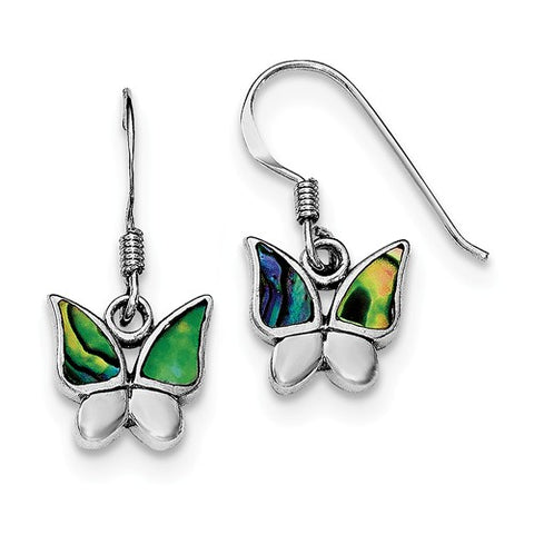 925 Sterling Silver Abalone Butterfly French Wire Earrings - Cailin's