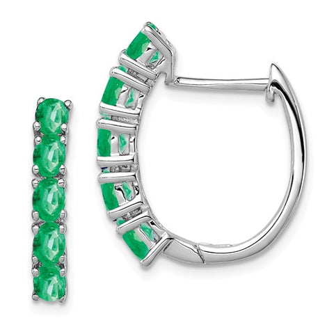 925 Sterling Silver Genuine Emerald Hoop Earrings - Cailin's