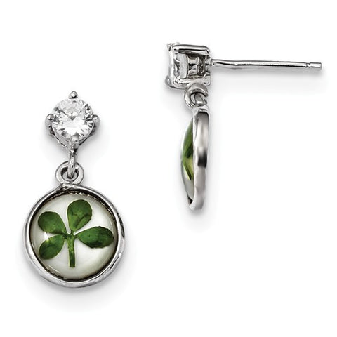 925 Sterling Silver Shamrock Lucky Four Leaf Clover CZ Post Earrings - Cailin's
