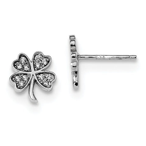Sterling Silver Four Leaf Clover Lucky CZ Earrings - Cailin's