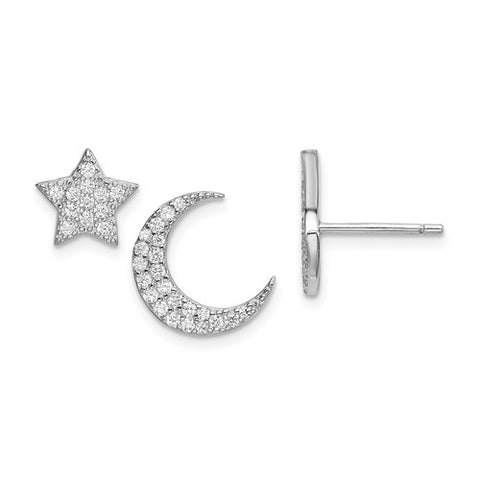 925 Sterling Silver Moon Star CZ Earrings - Cailin's