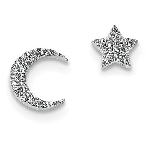 925 Sterling Silver Moon with Star CZ Post Earrings - Cailin's