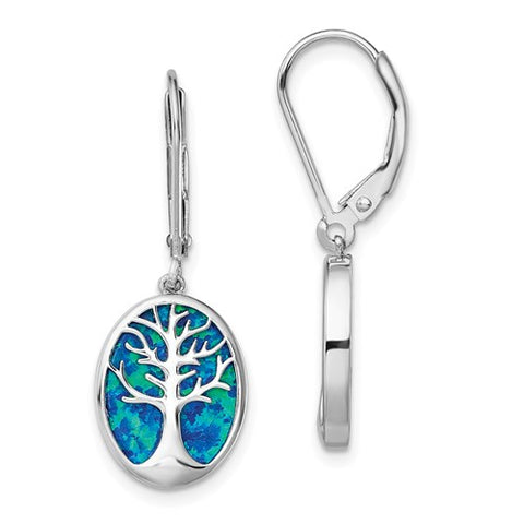 925 Sterling Silver Tree of Life Opal Earrings - Cailin's