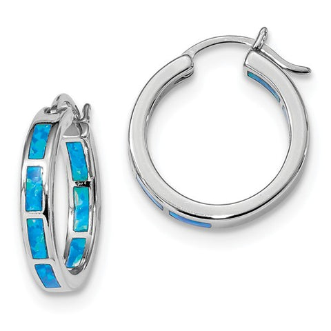 925 Sterling Silver Opal All Over Hoop Earrings - Cailin's
