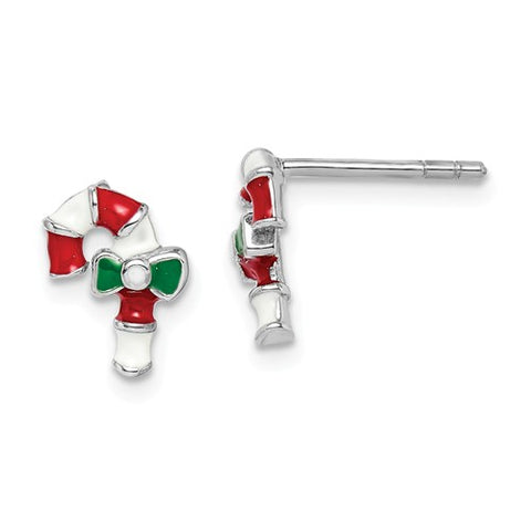 925 Sterling Silver Candy Cane Christmas Earrings - Cailin's