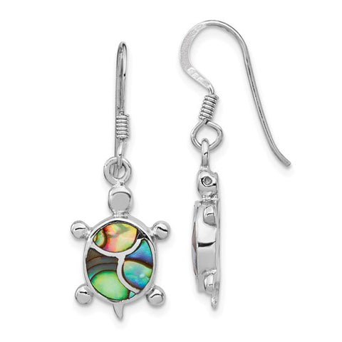 925 Sterling Silver Abalone Sea Turtle French Wire Earrings - Cailin's