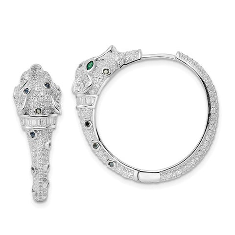 925 Sterling Silver Cheetah Cache CZ Hoop Earrings