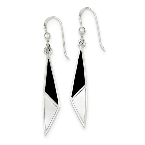 925 Sterling Silver Mother of Pearl Onyx French Wire Earrings - Cailin's
