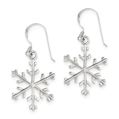 925 Sterling Silver Winter Snowflake French Wire Earrings - Cailin's
