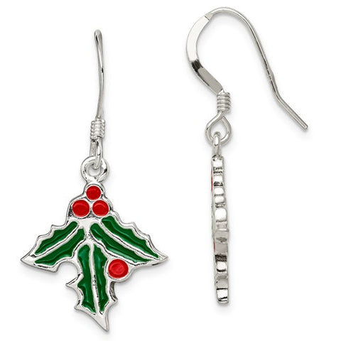 925 Sterling Silver Mistletoe French Wire Christmas Earrings - Cailin's