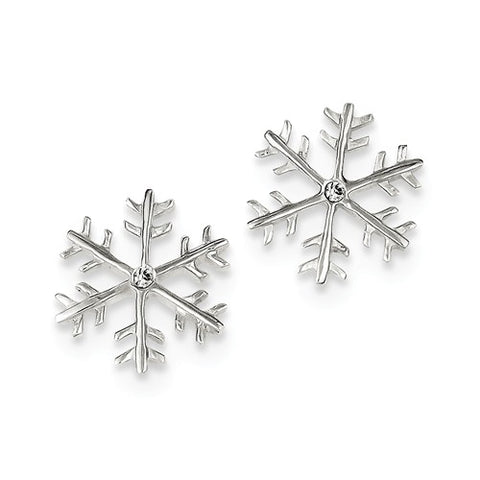 925 Sterling Silver CZ Snowflake Post Earrings - Cailin's