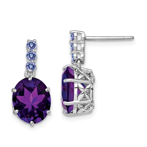 925 Sterling Silver Tanzanite Amethyst Post Earrings - Cailin's