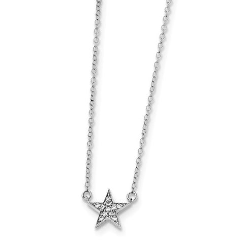 925 Sterling Silver Bright Star CZ Necklace - Cailin's