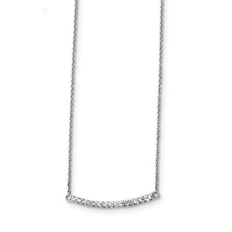925 Sterling Silver CZ Classic Bar Necklace - Cailin's
