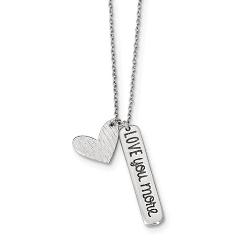 925 Sterling Silver Love You More Heart Necklace - Cailin's