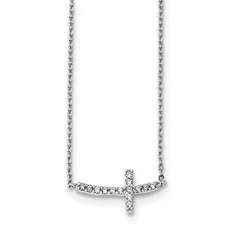 925 Sterling Silver Crossways Cross Necklace - Cailin's
