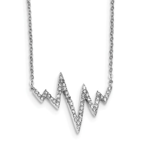 925 Sterling Silver Heartbeat Zig Zag 18in Necklace - Cailin's