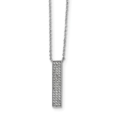 925 Sterling Silver CZ Bar Necklace - Cailin's