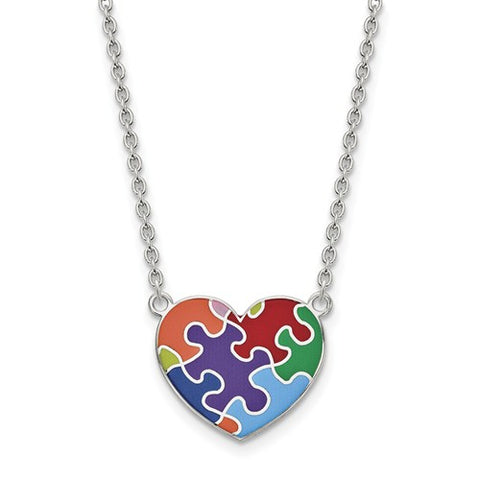 Sterling Silver Autism Heart Puzzle Piece Necklace - Cailin's