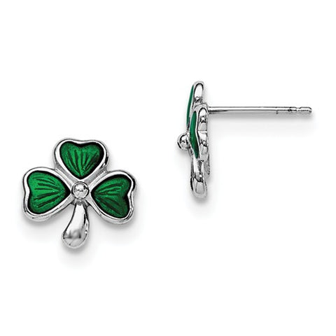 Sterling Silver Green Lucky Shamrock Post Earrings - Cailin's