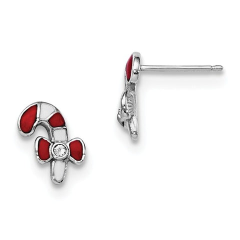 925 Sterling Silver Candy Cane Swarovski Crystal Post Earrings - Cailin's