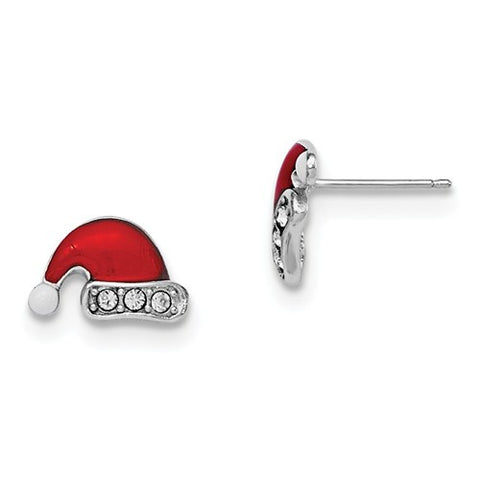 925 Sterling Silver Swarovski® Santa Hat Christmas Earrings - Cailin's