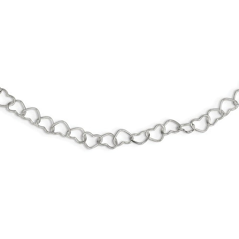 925 Sterling Silver Link Hearts Necklace - Cailin's